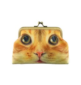 Lavishy International Faux Leather Kiss Lock Coin Purse - Cat