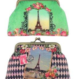 Lavishy International Faux Leather Kiss Lock Purse - Paris