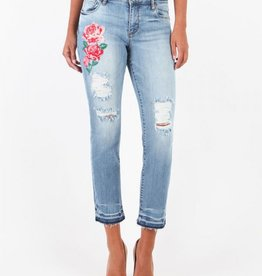 Kut from the Kloth Reese Ankle Straight Leg Jean with Floral Embroidery