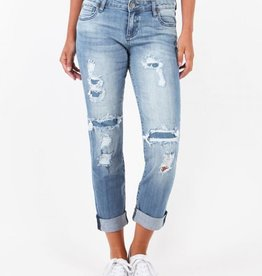 Kut from the Kloth Catherine Boyfriend Jean with Frayed Patchwork