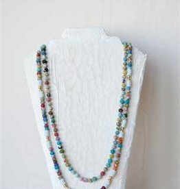 "Creative Co-op 30"" Metal and Multicolor Fabric Bead Necklace"