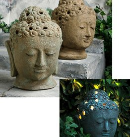 Garden Age Table Top Buddha Head Lamp - Volcanic Ash