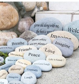 "Garden Age Miracle 7-9"" Natural Beach & River Stones - Engraved Phrases"