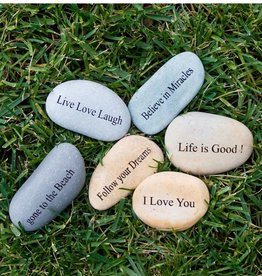 Garden Age 3-4â€ù Natural Beach Pebble with Phrase Engraving