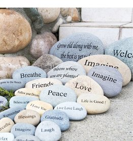 "Garden Age Miracle 7-9"" Natural Beach & River Stones - Engraved Words"