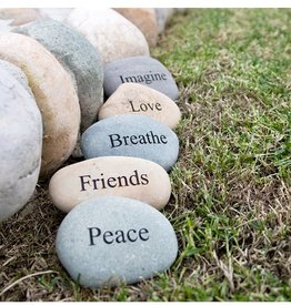 "Garden Age Miracle 4-6"" Natural Beach & River Stones - Engraved Words"