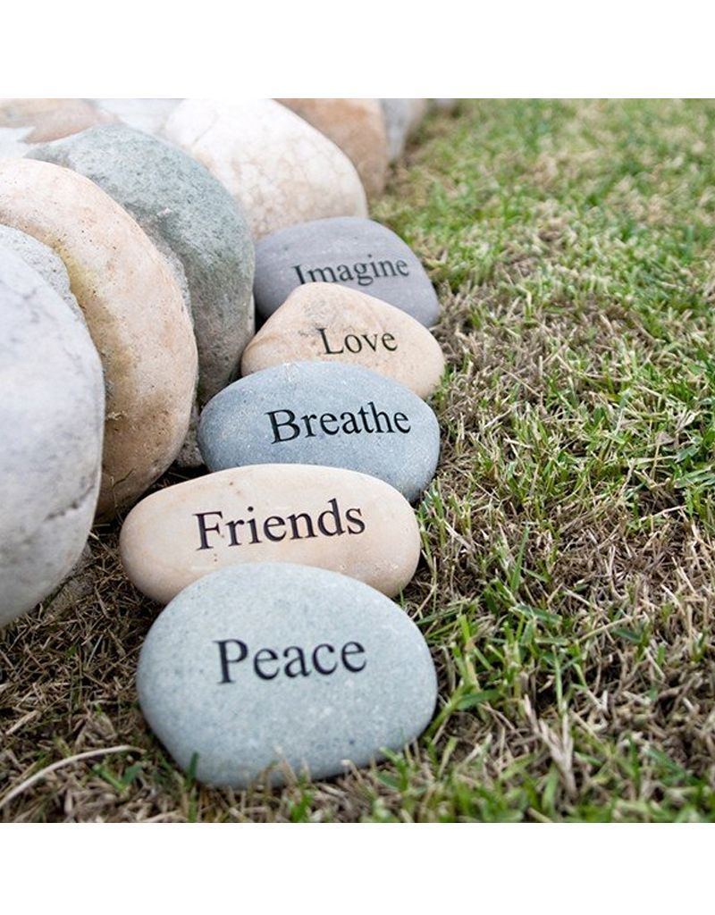 """Garden Age Miracle 4-6"""" Natural Beach & River Stones - Engraved Words"""