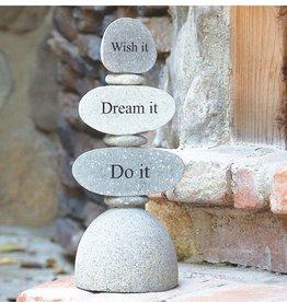 Garden Age Engraved Cairn Sculpture - Wish it Dream it Do it
