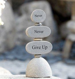 Garden Age Engraved Cairn Sculpture - Never Never Give Up