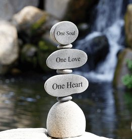 Garden Age Engraved Cairn Sculpture - One Soul, One Love, One Heart