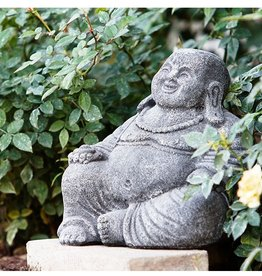 """Garden Age Small Laughing Buddha - Cast 8"""" Volcanic Ash, Old White Finish"""