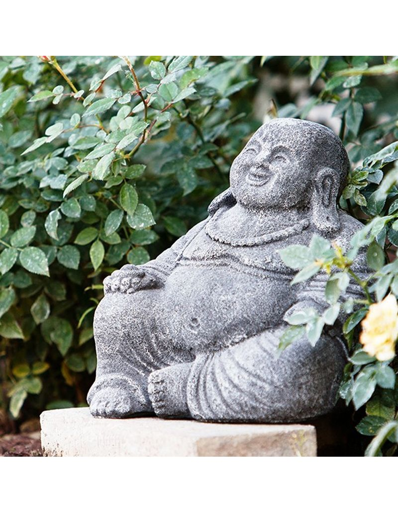 "Garden Age Small Laughing Buddha - Cast 8"" Volcanic Ash, Old White Finish"