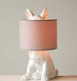 "Creative Co-op 13""L x 10-1/4""W x 17-1/2""H Resin Dog Shaped Lamp w/ Linen Shade"