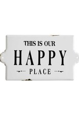 """Creative Co-op 14-1/2""""L x 8""""H Enameled """"Happy Place"""" Wall Plaque"""