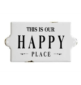 "Creative Co-op 14-1/2""L x 8""H Enameled ""Happy Place"" Wall Plaque"