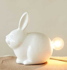 Creative Co-op Ceramic Bunny Lamp 9-1/4