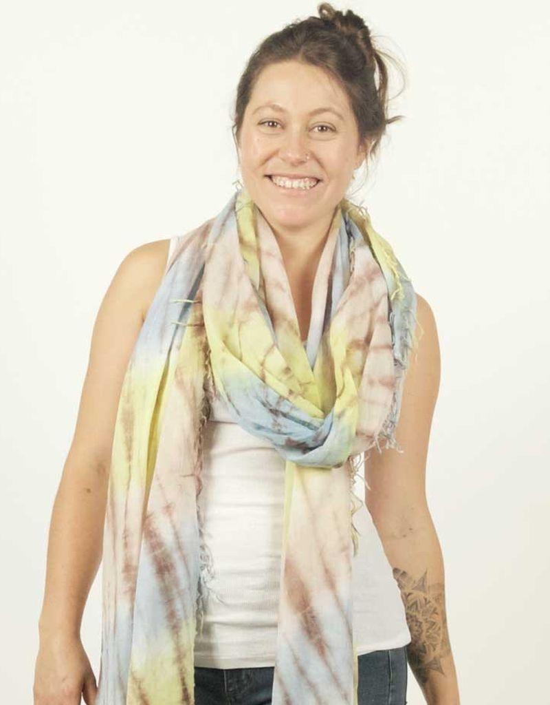 Zig Zag Cotton Tie-Dye Scarf