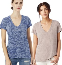 Alternative Apparel Slinky Melange Burnout Jersey V-Neck T-Shirt