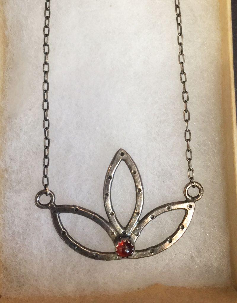 Lucky 7 Southpaw Craft handmade sterling silver lotus, semi-precious stone ronolite garnet