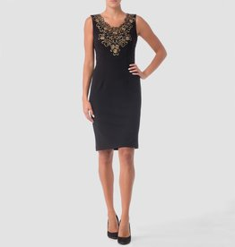 Joseph Ribkoff LDS Dress Gold Thread applique
