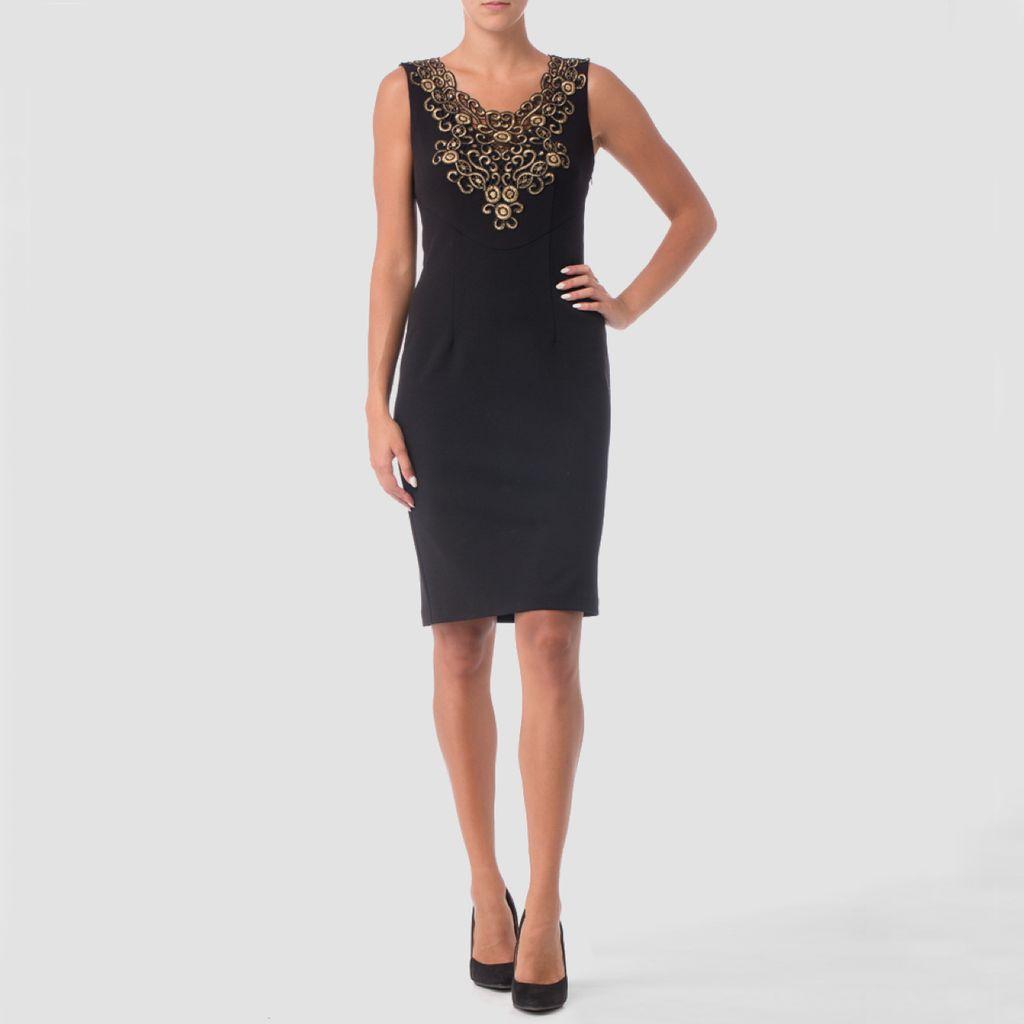 Joseph Ribkoff LDS Dress with Gold Applique - Maria Luisa Boutique