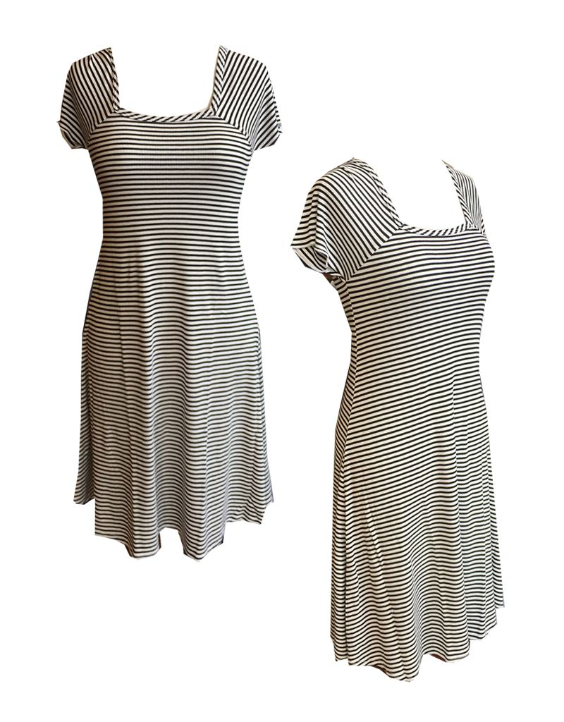 Plume & Thread Square Neck Cap Sleeve Striped Dress