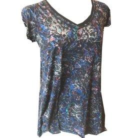 Plume & Thread V-Neck Swing Hem Short Sleeve Top, Floral Print