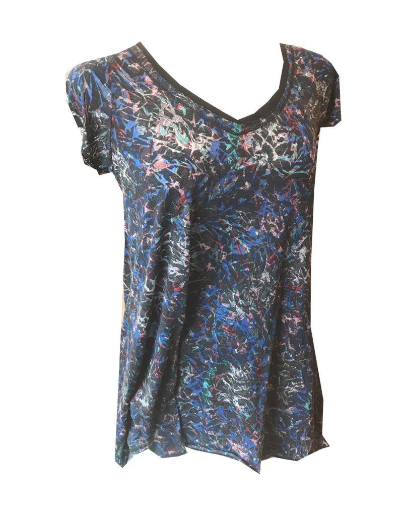 Plume & Thread V-Neck Swing Hem Short Sleeve Top, Floral Print