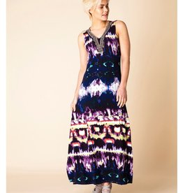 "Buur A-Line Fit Long Dress w/ Beaded ""V"""