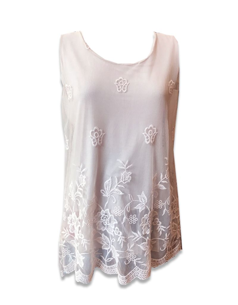 M Made in Italy Long Tank w/ Sheer Embroidered Overlay