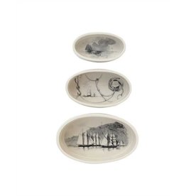 Creative Co-op set of 3 stoneware oval ramekins w/vintage ships