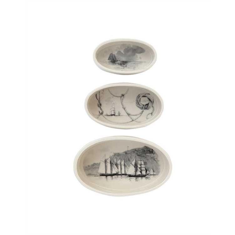 Creative Co-op set of 3 stoneware oval ramekins w/vintage ships