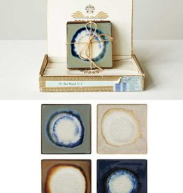 "Creative Co-op S/4 4"" Sq Stoneware Coasters w/Crackle Glass Glaze"