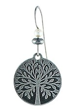 Earth Dreams Tree of Life Earrings, Silver/Grey