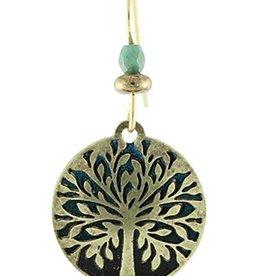 Earth Dreams Tree of Life Earrings, Brass/Blue