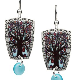 Earth Dreams Tree of Life Earrings, Blue Enamel
