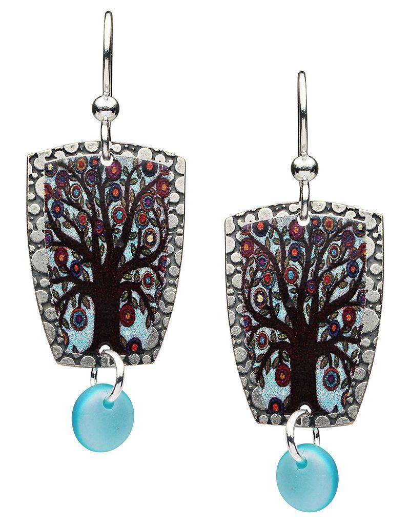 Earth Dreams Tree of Life Earrings, Blue Enamel