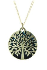 Earth Dreams Tree of Life Necklace, Brass/Brown