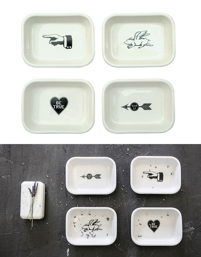 Creative Co-op White Graphics Stoneware Soap Dish
