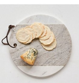 "Creative Co-op 9"" Round White Marble Cheese Board"