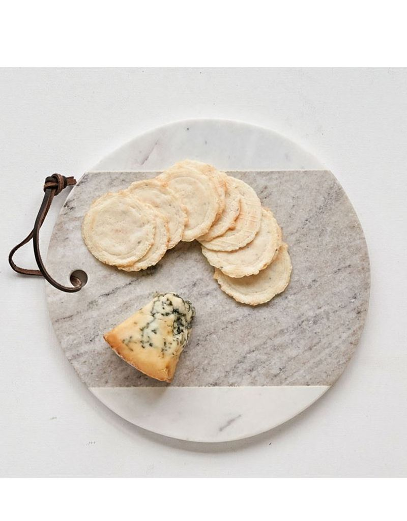 """Creative Co-op 9"""" Round White Marble Cheese Board"""