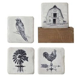 Creative Co-op Set of 5 Resin Coasters w/Wood Holder