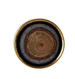 "Creative Co-op 1-1/2"" Round x 2""W Resin, Brass & Mango Wood Knob/Drawer Pull"