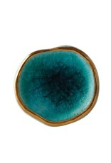"Creative Co-op 1-1/2"" Round x 2-3/4""W Ceramic Reactive Glaze Knob/Drawer Pull, Blue w/ Gold"
