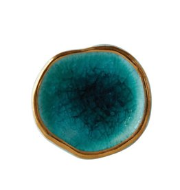 "Creative Co-op 1-1/2"" Round x 2-3/4""W Ceramic Reactive Glaze Knob/Drawer Pull, Blue w/ Gold"