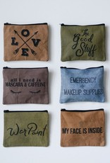 Creative Co-op Distressed Cotton Canvas Zip Pouch