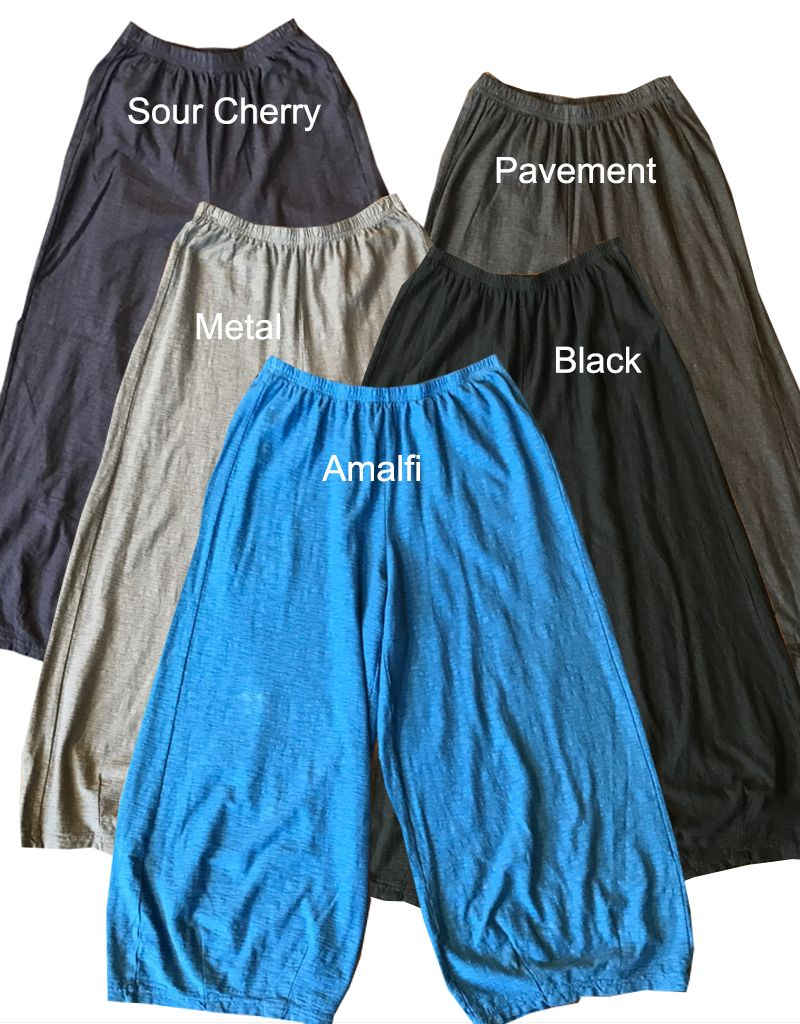 Cut Loose Cropped Dart Cotton Linen Knit Pant