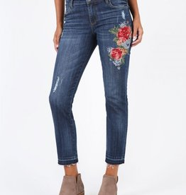 Kut from the Kloth Kut from the Kloth, Catherine Boyfriend Jeans w/Floral Needlepoint Embroidery