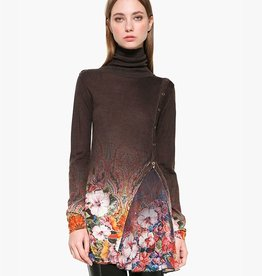Desigual Freya Long Turtleneck Sweater w/Buttons
