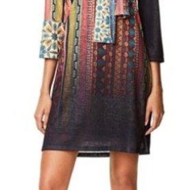 Desigual Caly Moroccan Print Dress w/Necktie